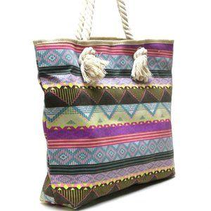 Neon Tribal Print Canvas Beach Tote Bag